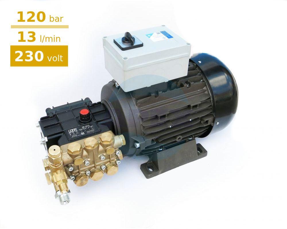 Grup pompare spalatorii monofazat Udor 120 bar, PNC 13/12 S  cu regulator presiune si intrerupator