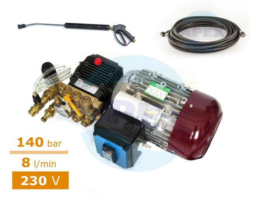 Pompa spalare cu presiune monofazata, 220V COMET LS 140-8 (furtun 10m, pistol si lance spalare)