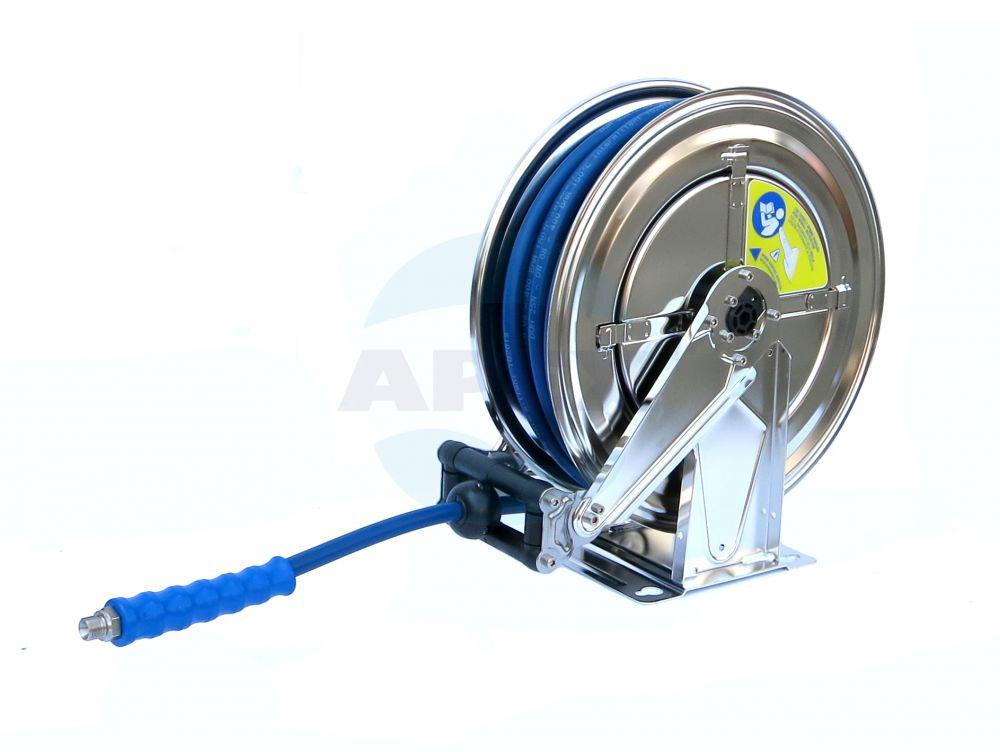 Tambur furtun spalare automat Inox 1/2F - 3/8F, Furtun Presiune 20m