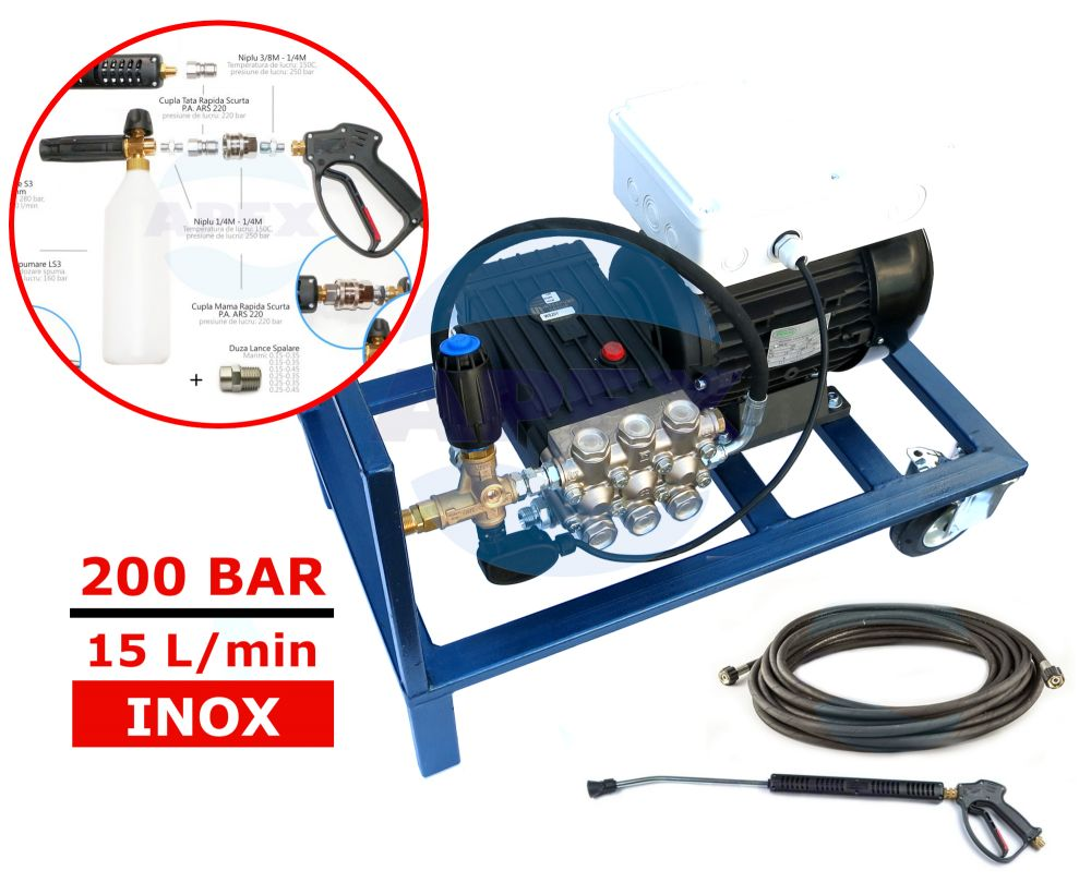 KIT Complet spalare - spumare Interpump WS201 (200bar, 15L/min)