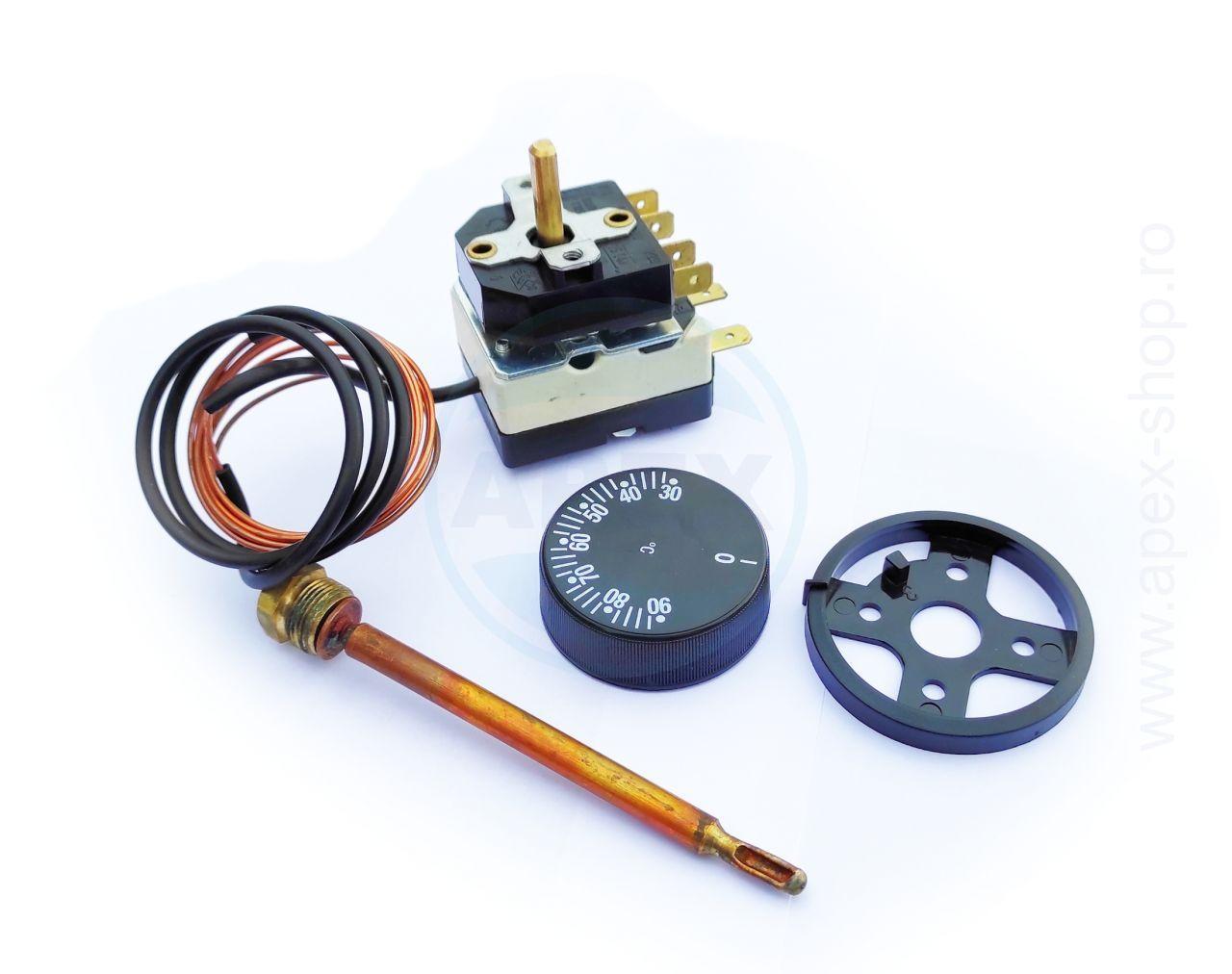 Termostat 30-90C 1200mm cu comutator pentru aparate presiune