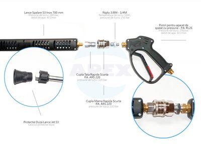 KIT complet Lance spalare S3-700, pistol spalare RL.26 si cupla rapida ARS220  - Recomadat pentru uz industrial, in spălătorii auto