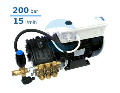 Grup Spalare UDOR 200 bar, BC 15/20 cu Total Stop - 200bar, 15L/min, motor 5.5KW trifazic, by-pass VRT3 cu presostat