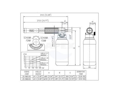 Lance Spumare LS10 original PA - Dispozitiv dozare spuma