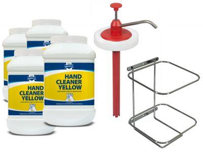 Gel de curatat maini Americol Hand Cleaner Yellow 4,5L x4buc cu pompa dozare si suport perete